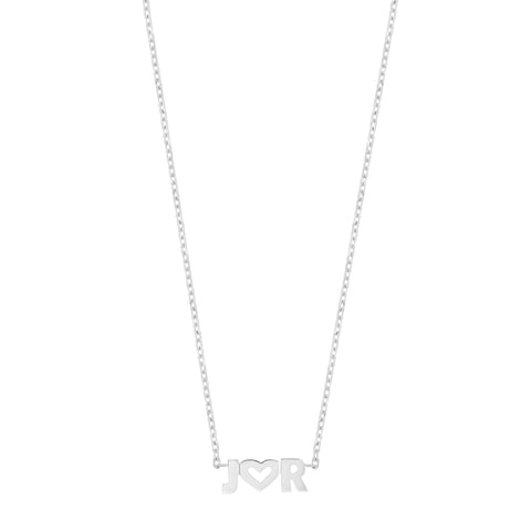 Uppercase Name Necklace - 14K White Gold