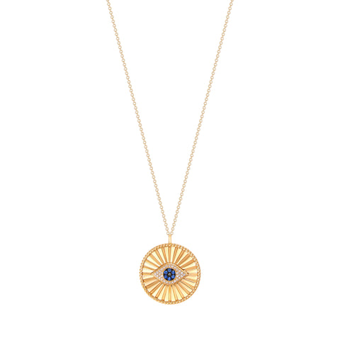 14K Gold Fluted Disc with a Diamond and Sapphire Evil Eye