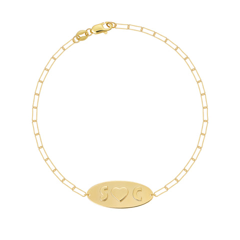 Oval Bracelet With Raised Letters