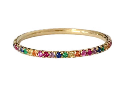 Rainbow Round Stone Ring - Gold Plated