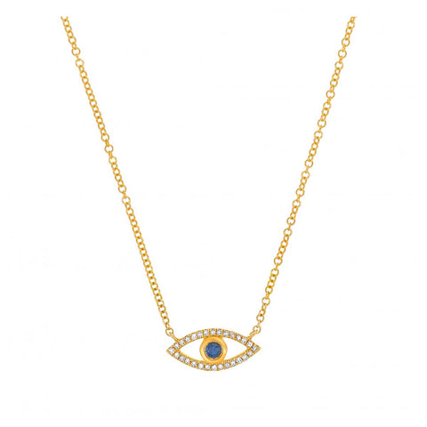 Lucky Eye- Diamond and Sapphire Lucky Eye Necklace- Lola James Jewelry