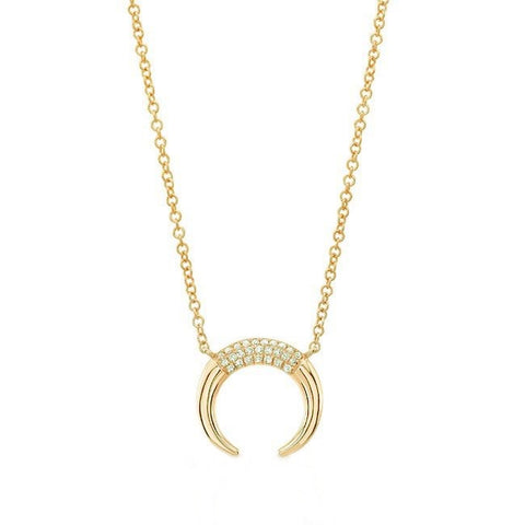Mini Horn- 14K Gold Horn with Diamond Pave Accent - Lola James Jewelry