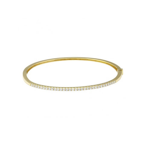 Glitzerland- Micro Pave Diamond Bangle Bracelet 14K Gold- Lola James Jewelry