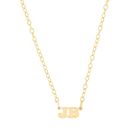 Mini Me Double Initial - 14K Gold Mini Initial Necklace - Lola James Jewelry
