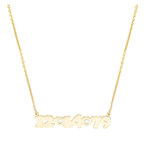 Mini Me Diamond Date - 14K Gold Personalized Custom Necklace - Lola James Jewelry