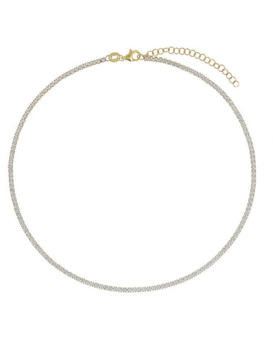 Tennis Choker - Crystal Stones - Gold Plated