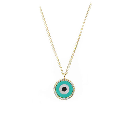 Crete- Eye Protection Diamond 14k Gold Necklace- Lola James Jewelry