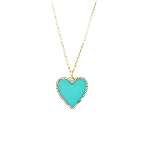 Bora Bora- Diamond Turquoise Heart- Lola James Jewelry