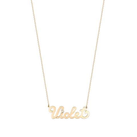 Script Name Necklace With Diamond Accent