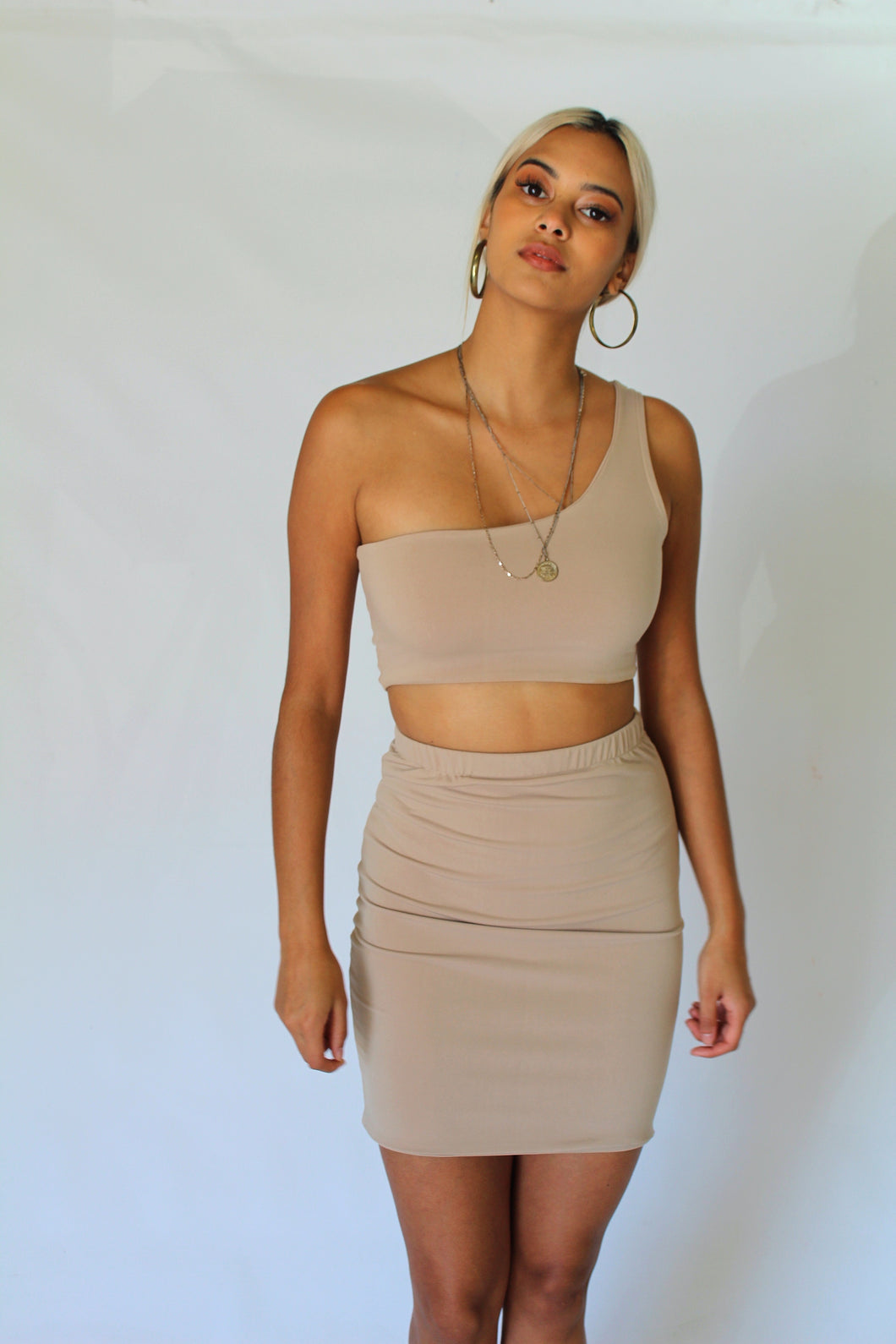 One Shoulder and Mini Skirt Set