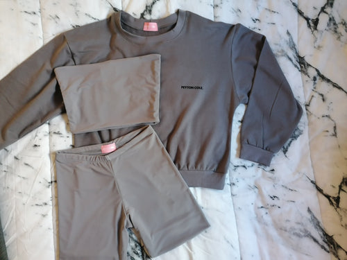 Crew Neck Sweatshirt, Boob Tube and Cropped Tights Set