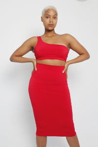 1-Shoulder Crop and Midi Skirt Set (Various Colours)