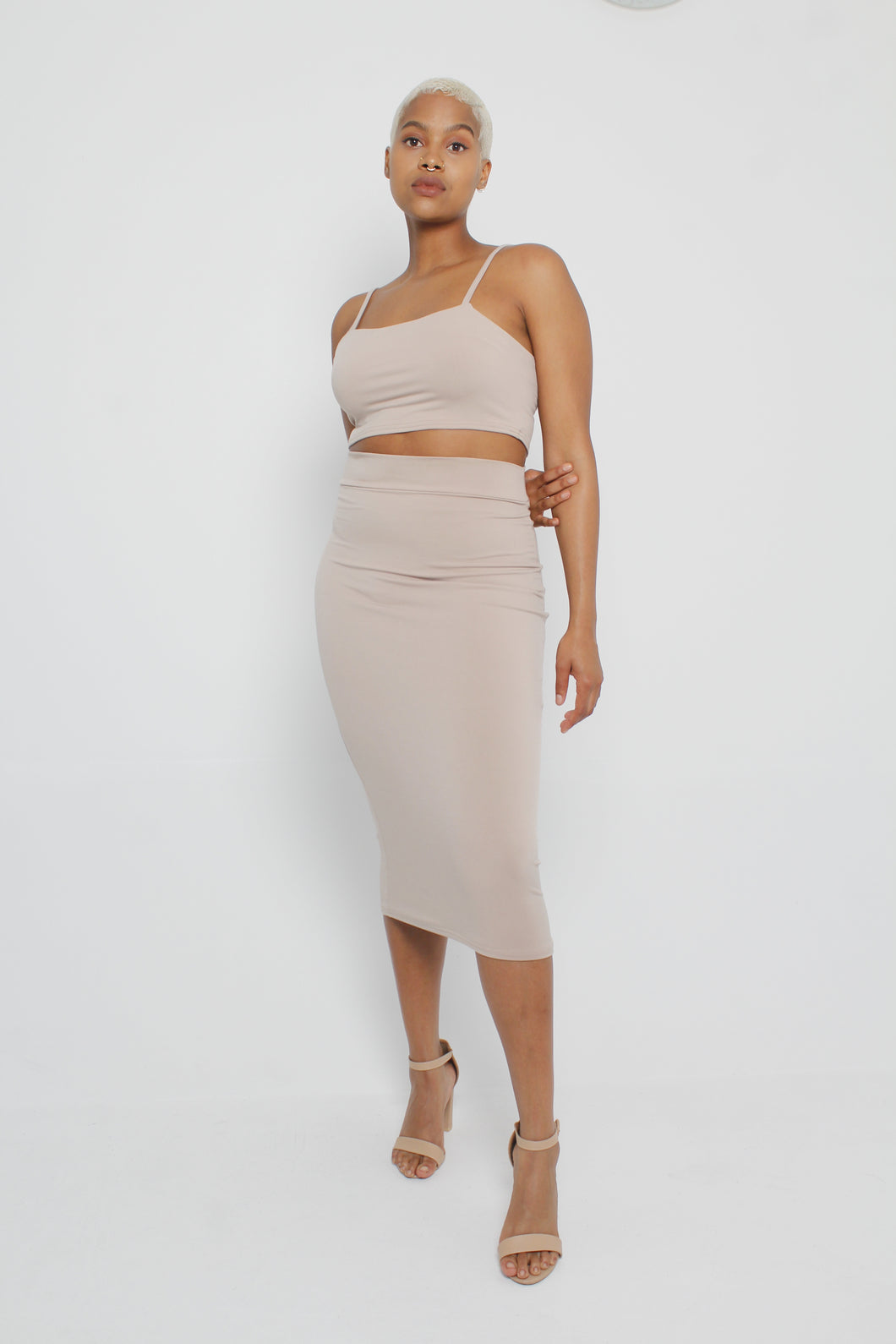 Spaghetti Strap Crop Top and Midi Skirt Set (Various Colours)