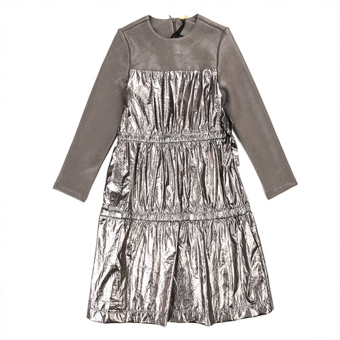 Tiered Metallic And Pleathr Dress