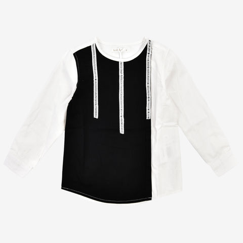 Boys L Sleeve Grid Top