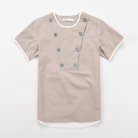 Button Bib Front Boys Shirt