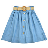 Melange Button Skirt