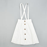 Melange Button Skirt With straps