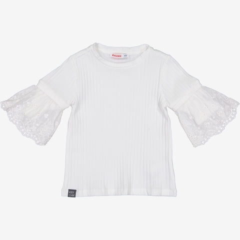 Rib T-Shirt Lace Sleeve
