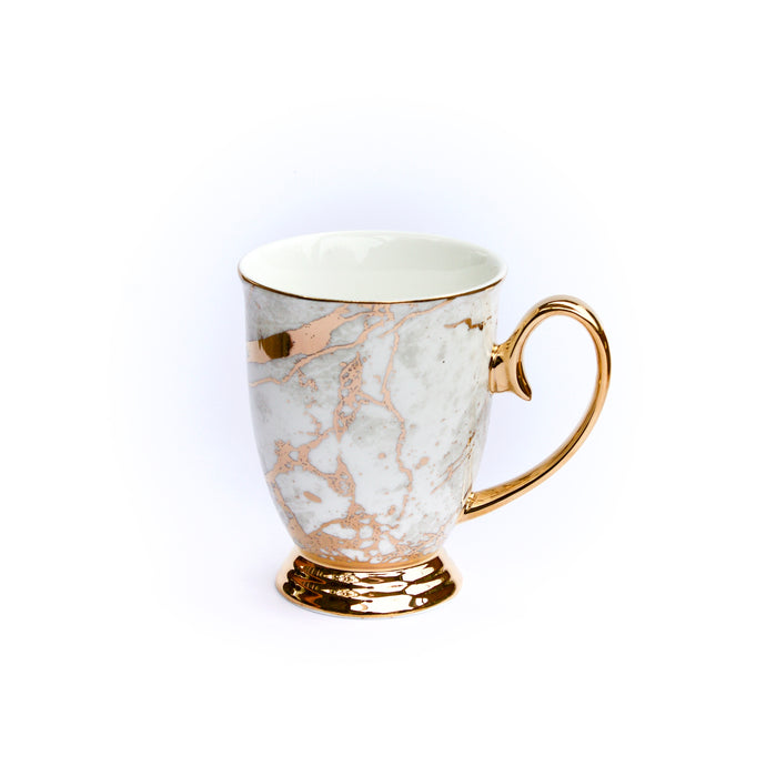 Crystalline Celestite, crystal & stone, mixed gold plated, luxury, vegan new bone china mug, On trend, luxe white marble, inspired, high tea, or, coffee cup