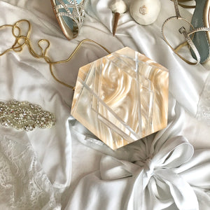 Acrylic Lucite Bridal Clutch Luxe White Pearl Evening Bag