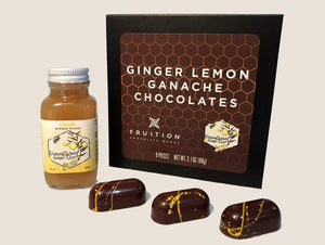 Lemon Ginger Chocolate Ganaches - ImmuneSchein & Fruition Chocolate Works Chocolates ImmuneSchein Ginger Elixirs