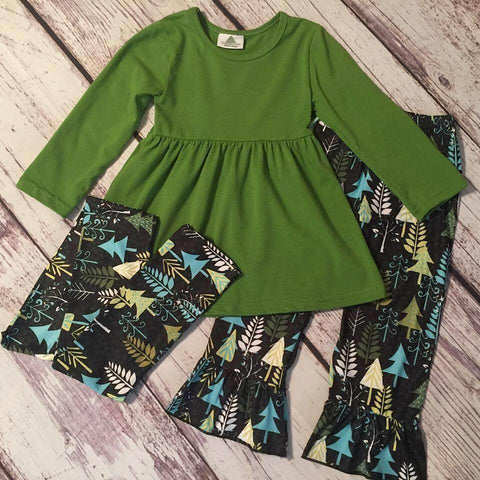 3 piece Green trees boutique outfit