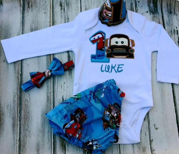 4 piece Cars Smash Cake Birthday outfit