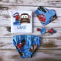4 piece Cars Smash Cake Outfit