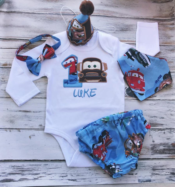 5 piece Cars smash cake outfit