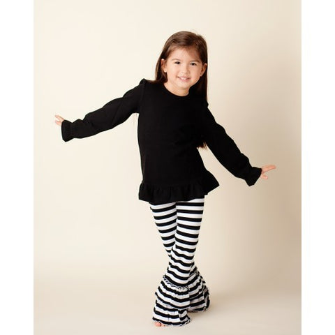 Girls Long Sleeve Ruffle Black Top Size 2T