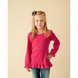 Girls Long Sleeve Ruffle Dark Pink Top Size 2T
