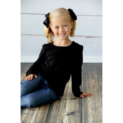 Girls Long Sleeve Black Top Size 3T