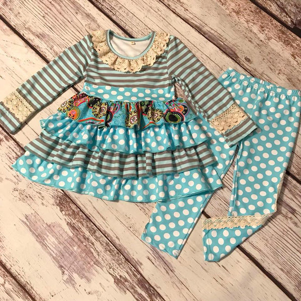 2 piece Blue polka dot boutique outfit