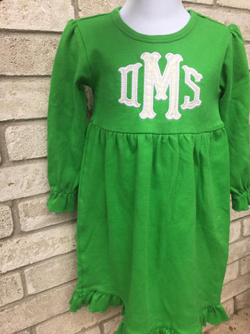 Girls Green Ruffle Long Sleeve Dress Size 3T