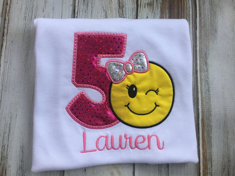 Girls emoji wink Face birthday shirt