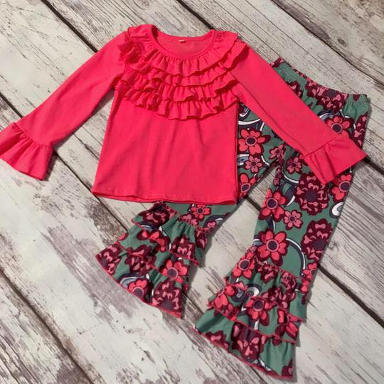 2 piece Pink Floral ruffles boutique outfit