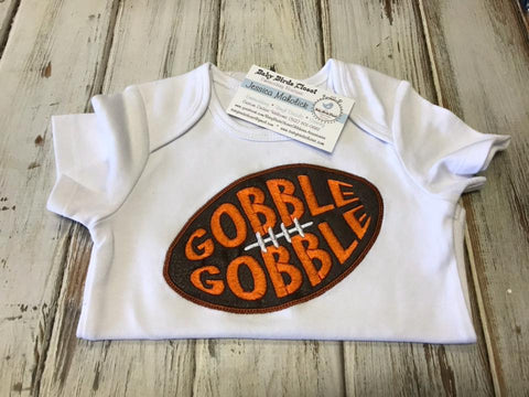 Boys Short Sleeve Football Gobble Gobble Onesie Size 6-12 Months SALE