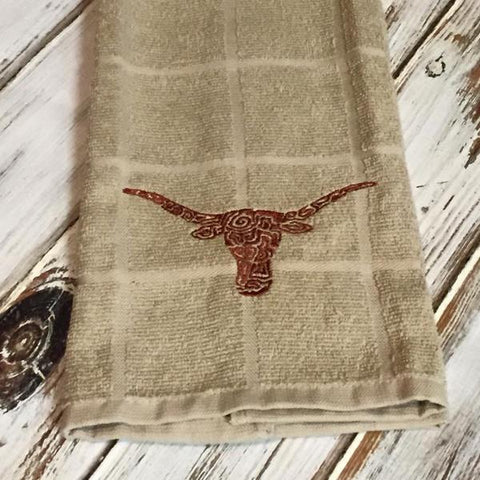 Texas Longhorn kitchen towel