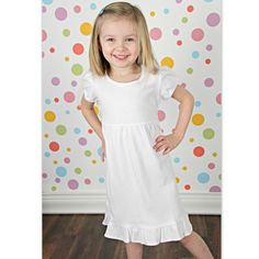 Girls White Short Sleeve Ruffle Dress Size 6