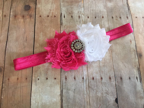 Hot Pink and White Headband