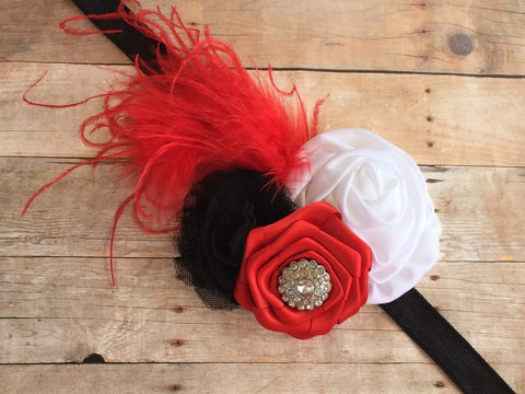 Over the Top Red and white Headband