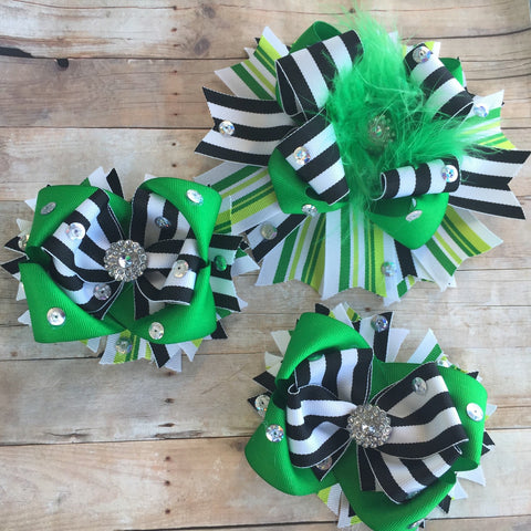 Over the top bow with matching shoe bows