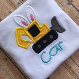 Boys easter shirt , excavator shirt, Easer construction shirt
