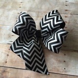 Large black chevron boutique bow
