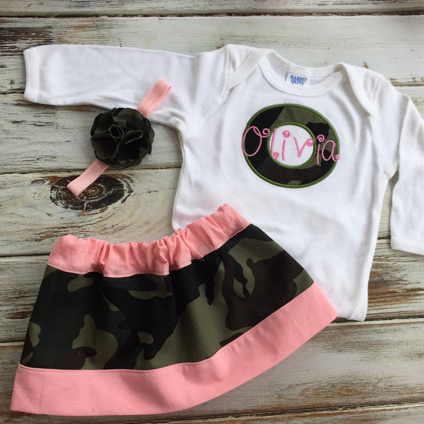 Monogrammed girls camo gift set