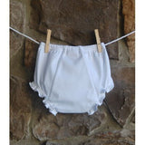 White ruffled bloomers, monogrammed bloomers