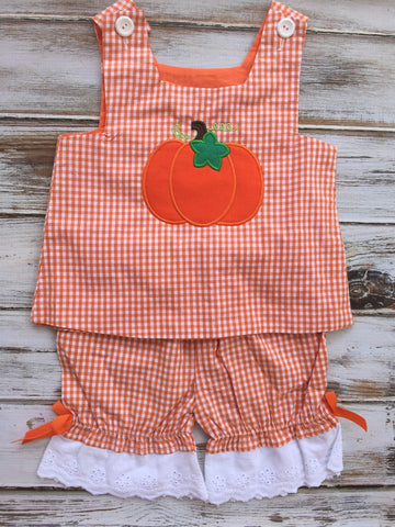 Orange Gingham Pumpkin Outfit