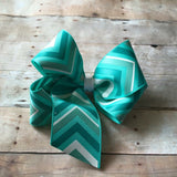 Large Aqua Chevron Boutique Bow