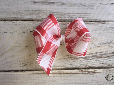 Red gingham boutique bow